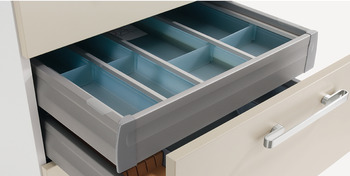 Internal drawer box with railing, Moovit, drawer side height 92 mm, with railing, cross rail, aluminium panel